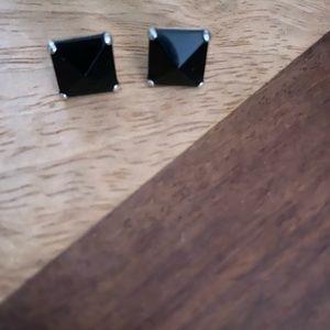 Silpada Sterling Silver Black Onyx Square Studs
